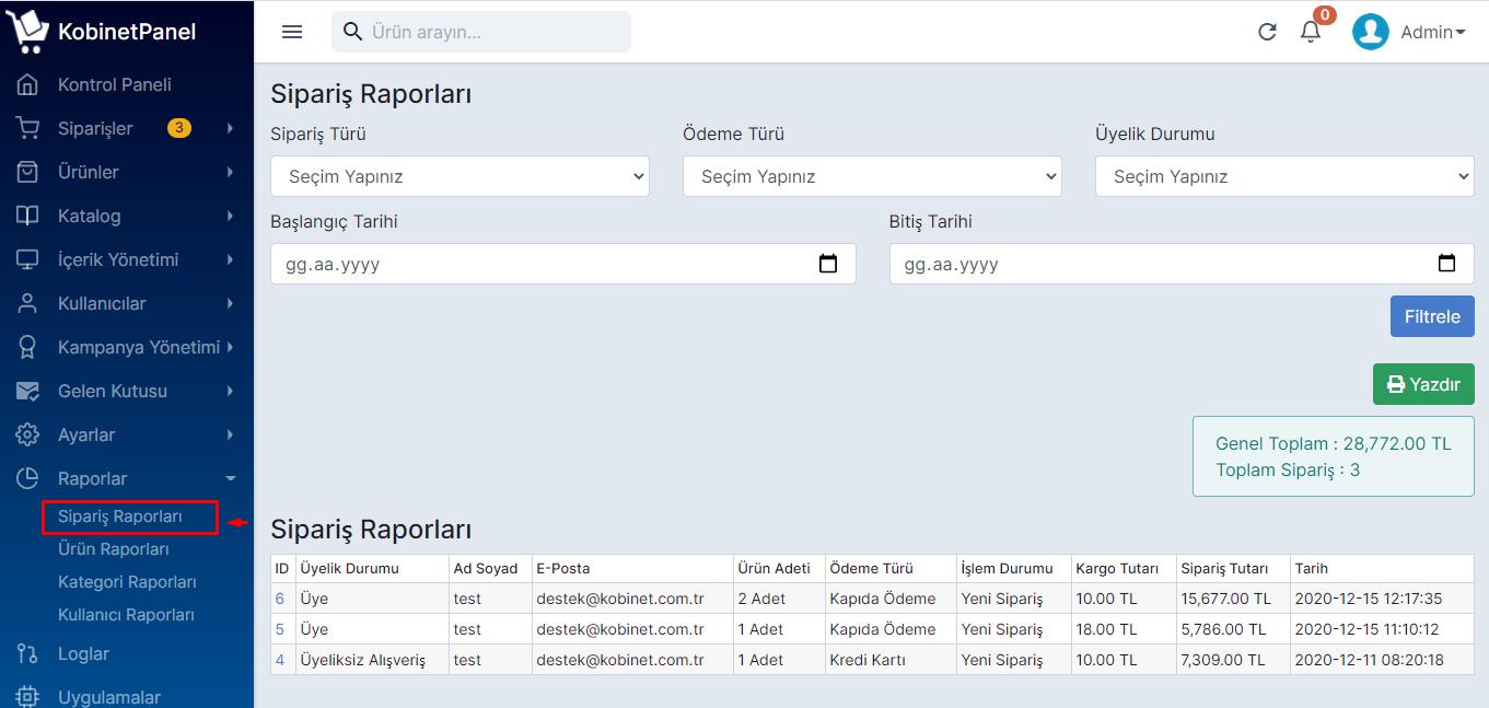 Sipariş, Kategori, Ürün ve Kullanıcı Raporları