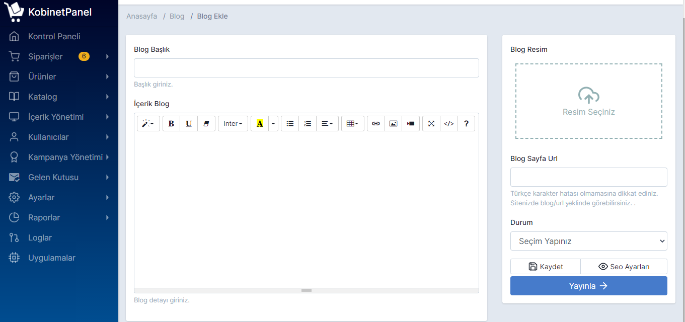 Blog Haber Makale Bilgi İçeriği Ekleme Düzenleme silme