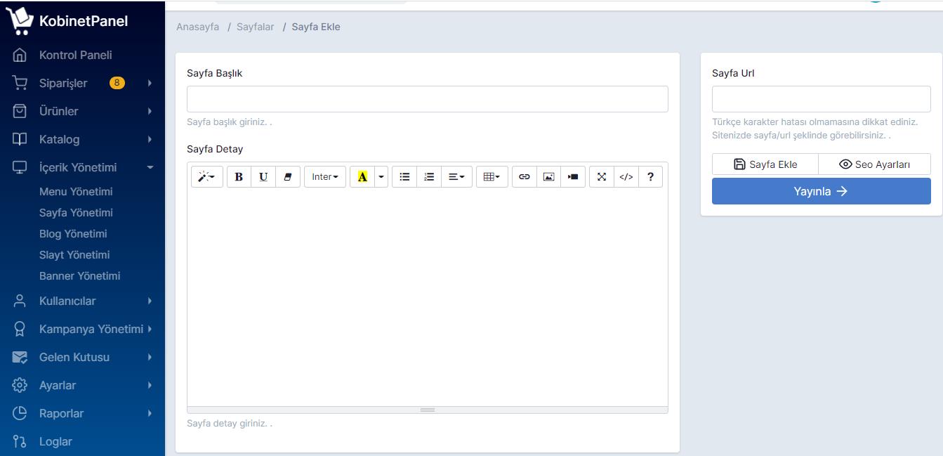 Sayfa Ekleme ve Düzenleme İşlemleri