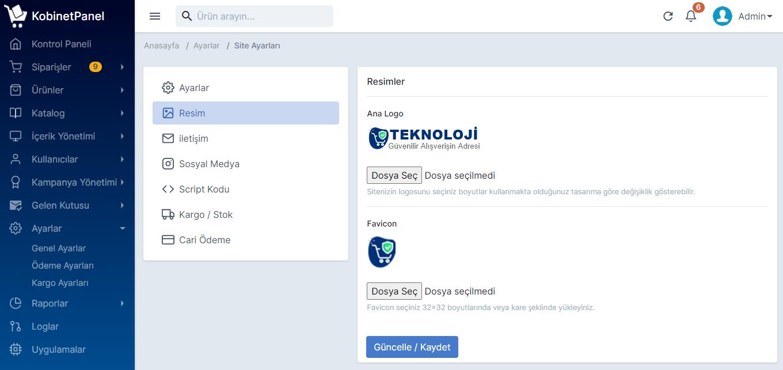 Genel Site Ayarları Yönetimi : Sosyal Medya, İletişim Adres ,Kargo ve Stok Uyarı, Script Kodları Entegrasyon, Cari Ödeme